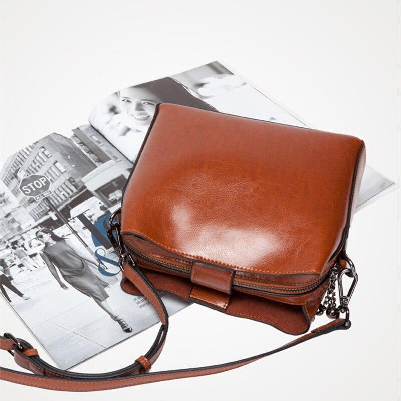 Retro Koe Split Lederen Kleine Tas Vrouw Vierkante Flap Messenger Bag Zip Crossbody Mode Tas Bucklet Riem Handtas Dames - 2