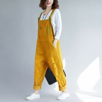 Loose Casual Corduroy Jumpsuits Retro Vintage Sleeveless Ripped Jumpsuits Hole Backless Overalls Strapless Paysuits Female
