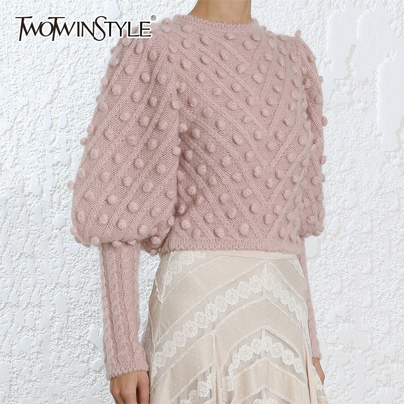 TWOTWINSTYLE Knitted Sweater Women Lantern Long Sleeve Patchwork Hair Bulb Short Pullover Tops Female Autumn 2019