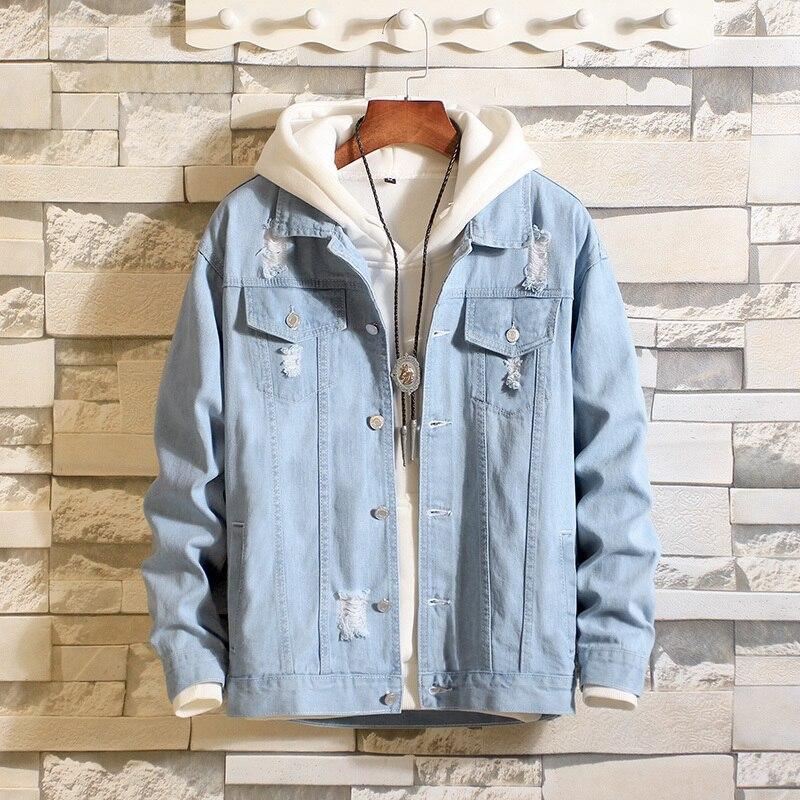Bleu Cowboy lâche manteau mâle coréen tendance printemps auto-culture trous veste hommes décontractée à capuche chaqueta hombre vêtements