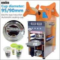 Xeoleo 新自動バブル茶機カップシール機 400 カップ/H デジタルカウントカップシーラーため 90/ 95 ミリメートルコーヒー/ミルクティーカップ -