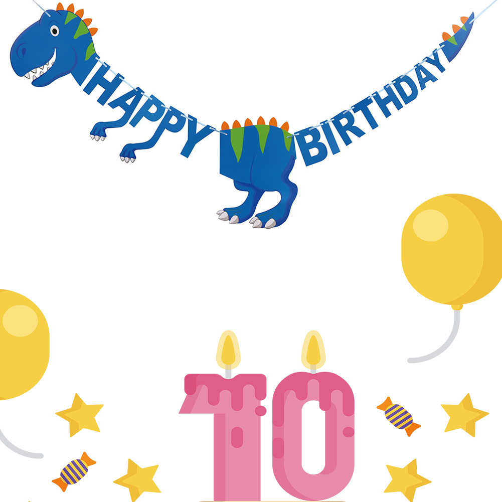 Dinosaur Happy Birthday Banner Blue Pink Green Kid'S Party Supplies Creative Animal Jurassic Dinosaur Decor Bunting Party Banner