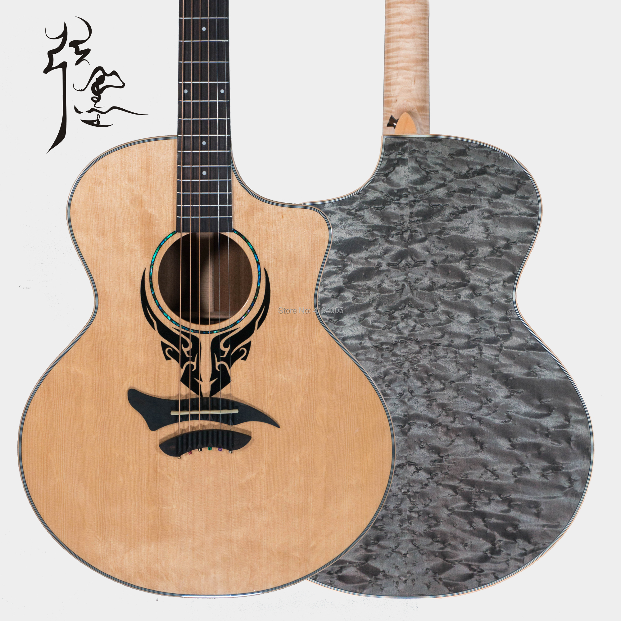 famous brand full solid 41 inches acoustic guitar factory custom flame maple neck solid mahogany. Black Bedroom Furniture Sets. Home Design Ideas