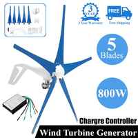 800W 12/24V Wind for Turbine Generator Five Wind Blades OptionWind Controller Gift Fit for Home +Mounting accessories bag