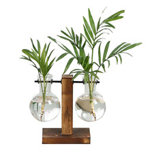 HOT-Vintage Style Glass Desktop Plant Bonsai Flower Christmas Decoration Vase with Wooden L / T Shape Tray Home Decor Accessor(China)