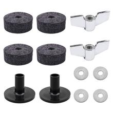 12pcs Cymbal Replacement Parts Accessories Set ( 2pcs Sleeves + Wing Nuts 4pcs Washers Felt Pads )