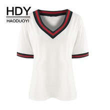 HDY HAODUOYI Plus Size 2019 Women Solid Half Sleeve T-Shirt Large V-Neck Black White Gray Over Casual Tops