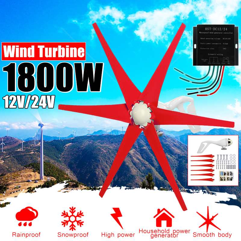 S3 1800W 12V/24 V 6 Blade Wind Turbines+Controller Wind Generator Power Windmill Energy Turbines Charge Home Or CampingS3 1800W 12V/24 V 6 Blade Wind Turbines+Controller Wind Generator Power Windmill Energy Turbines Charge Home Or Camping