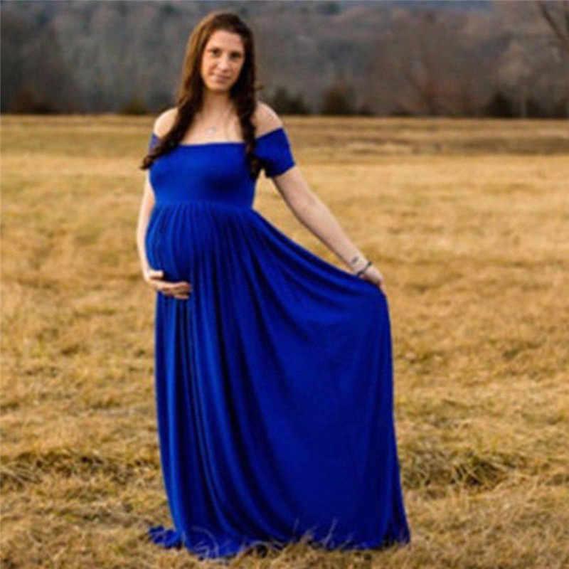 4f0c3b225bc63 2019 New Maternity Dress Photography Props Summer Off Shoulder Long Maxi  Dress Pregnancy Women Milk Dress Clothes For Pregnant
