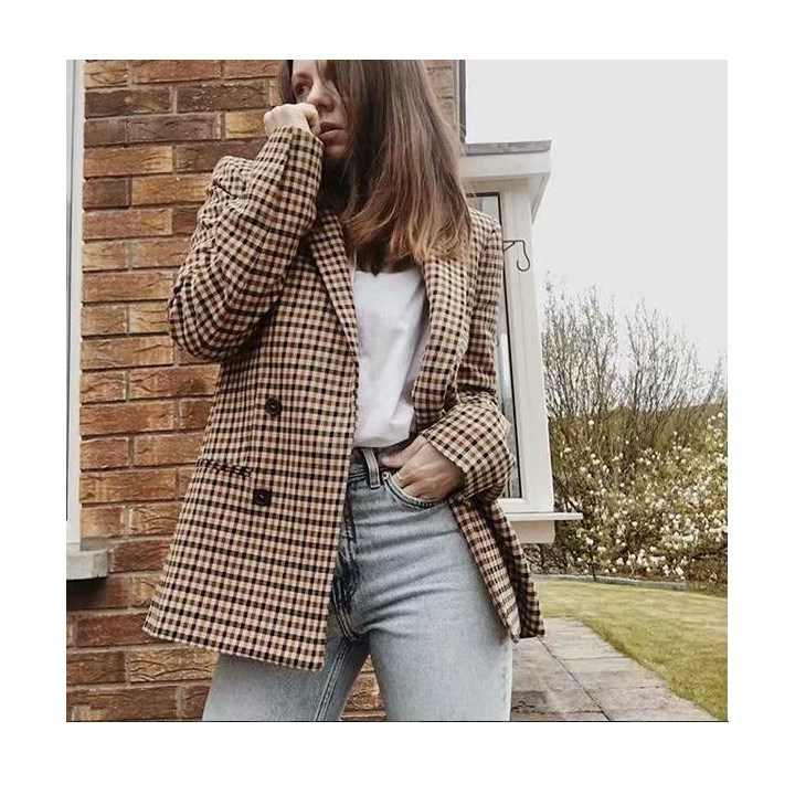Woman 2019 New Retro V-Neck Turn-Down Collar Plaid Blazer Double Breasted Long Sleeved Jacket Loose Checked Coats