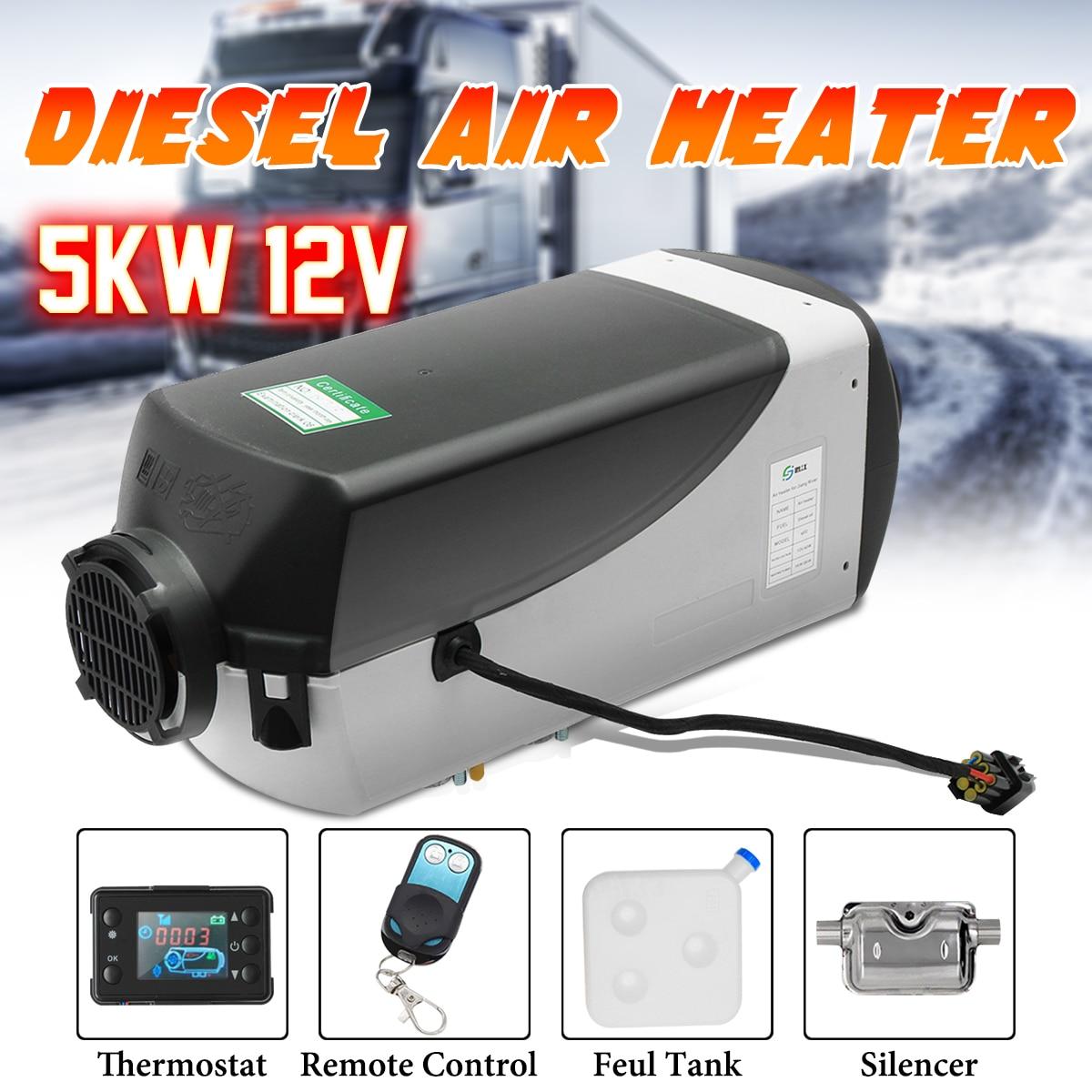 12 V 5000 W LCD moniteur monotrou Air diesels chauffe-carburant 5KW pour camions bateaux Bus avec télécommande et silencieux d'échappement