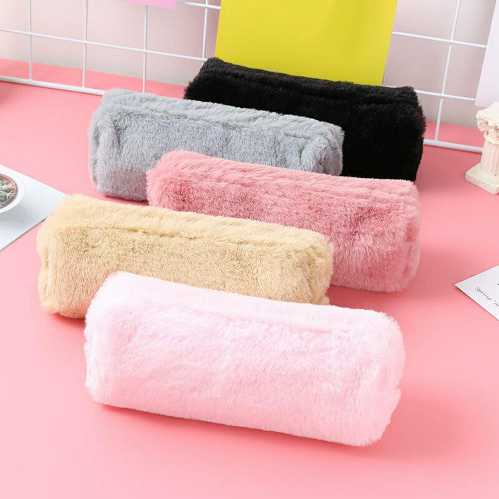 Lovely Girl Plush Fuzzy Fluffy Pencil Case Makeup Pouch Coin Purse Storage Bag grille