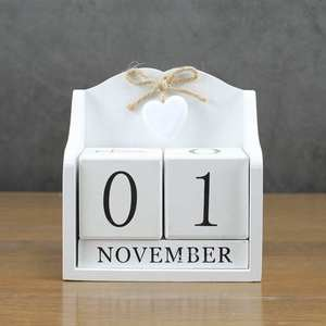 Image 3 - 2019 Creative Diy Wood Block Perpetual Calendar Desk Figurines Calendar Wood Calendar Fashion Home Office Decoration Gift Whit