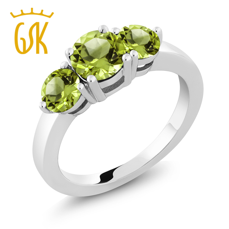 GemStoneKing 2.10 Ct 3-Stone Round Green Peridot 925 Sterling Silver Fashion Rings For Women