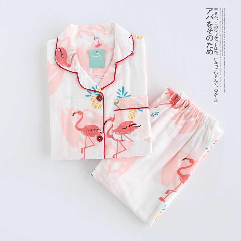 QWEEK Хлопковые женские пижамы с принтом Фламинго пижамы для женщин осень длинный  рукав пижама Femme модный 5d3c7cb020cdd