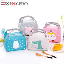 BalleenShiny Oxford Cute Animal Bento Box Storage Thermal Lunch Organizer Snack Fruit Office Picnic Outdoor Hang Bag