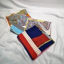 Fashion Shawl Scarves For Women Print Twill Silk Hand Rolled Scarf Female 90cm*90cm Luxury Square Shawls Wraps Scarfs Ladies