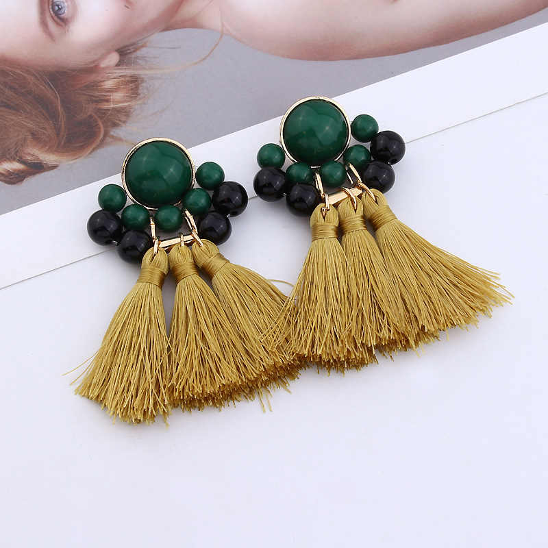 Beautiful Bohemian Girls Fashion Jewelry Exquisite Bead 1 Pair Long Tassel Red Beige Yellow Drop Earrings Valentines Gift