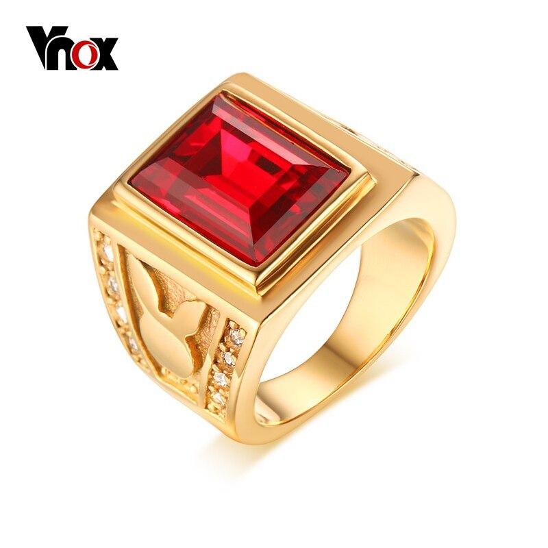 d7f8c9d30f8d Anillo de piedra grande rojo Vnox para hombre, joyería de acero inoxidable,  anillo de fiesta para ...