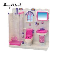 Plastic Dolls Bathroom Furniture Play Set for 1/6 Scale Doll House Action Figure Accessories Model Decoration Children Toy