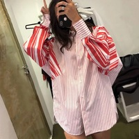 Blusas Mujer De Moda 2018 Red Stripe Casual Elegant Striped Women Shirt Long Sleeve Blouse Autumn New Women Tops and Blouses