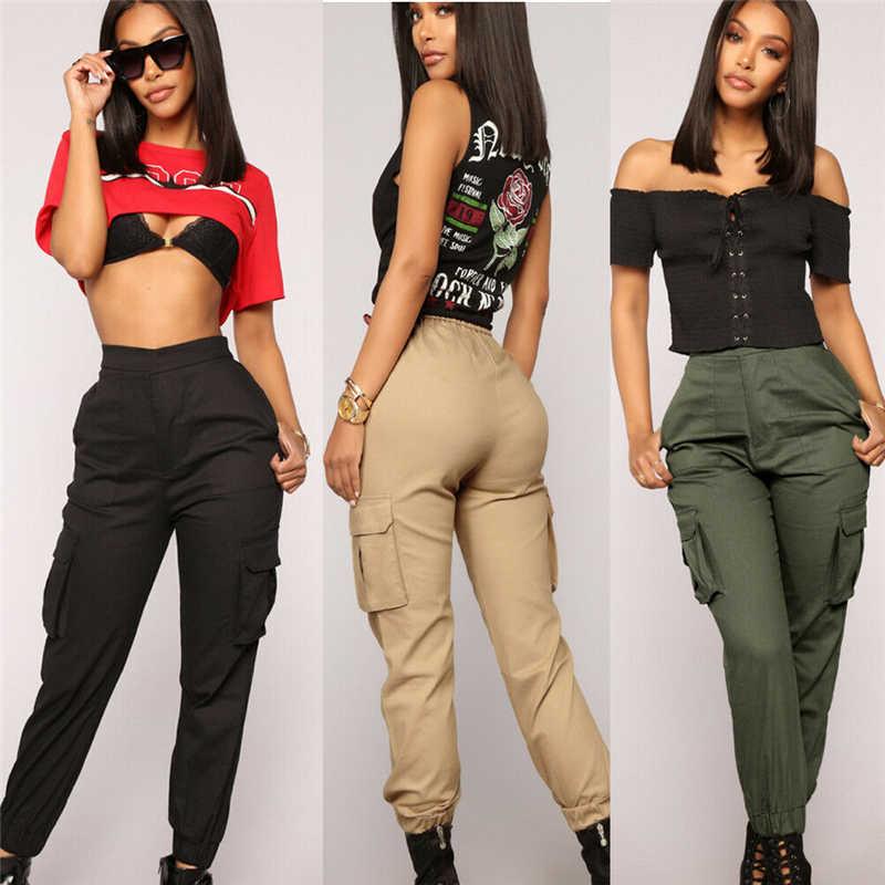 Pantalones Cargo Informales De Cintura Alta Para Mujer Mallas De Tubo Para Correr Pantalones Largos Tendencia De Moda Novedad De Verano 2020 Pantalones Y Pantalones Capri Aliexpress