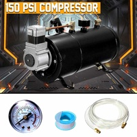 Air Compressor 150 PSI 12V Compressor Electric with 3 liters Tank Capacity for Air Horn Train Truck Auto Bicycles Tire H004