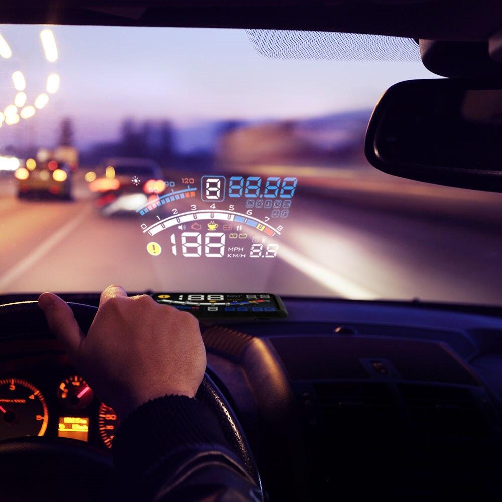 XUNMA voiture nouveau HUD affichage tête haute OBD2 II EUOBD système d'avertissement de survitesse projecteur pare-brise Auto alarme de tension électronique