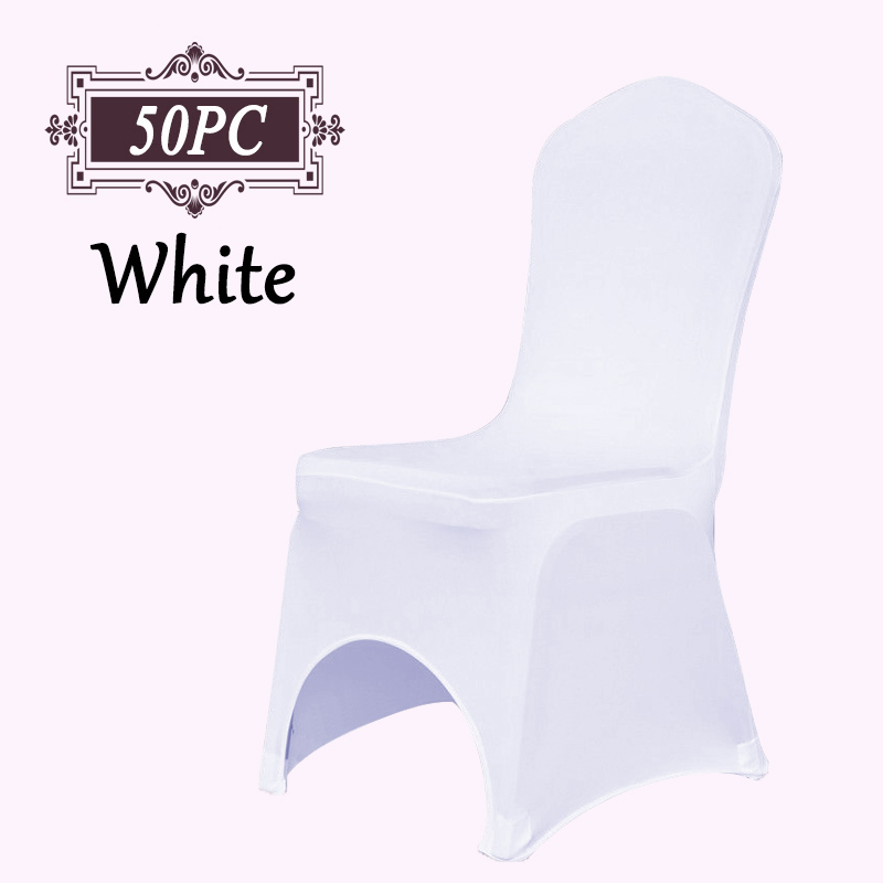 1Lot 50 PCS Universal Stretch Polyester Spandex Lycra Chair Covers for Wedding Banquet Hotel Event Decoration