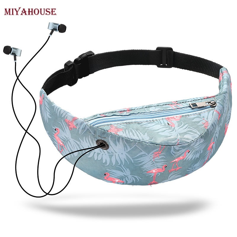 Miyahouse National Animal Print Waist Packs Female Canvas Floral Sports Waist Bags For Women Run Belt Pocket With Headphone Jack