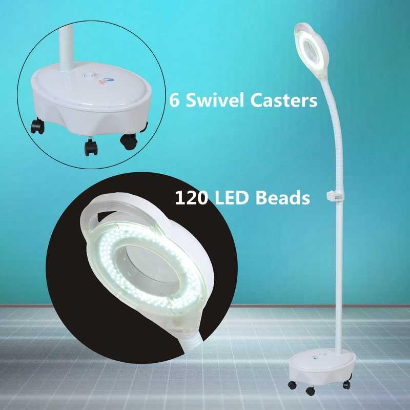 120 LED 220V lupa de pie de la Lámpara lupa Pro 8X Diopter vidrio de luz fría Len luz Facial para la belleza salón de uñas tatuaje