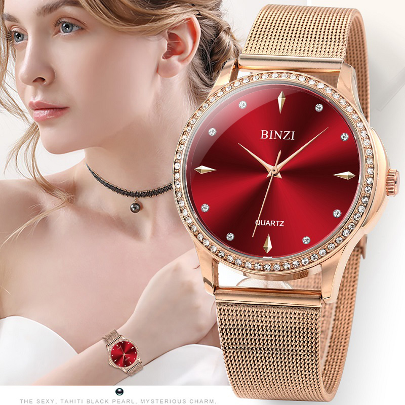 2019 Red Women's Diamond Watch Quartz Clock Luxury Bracelet Ladies Watches Relogio Feminino Montre Femme Uhr Wristwatch Gold New