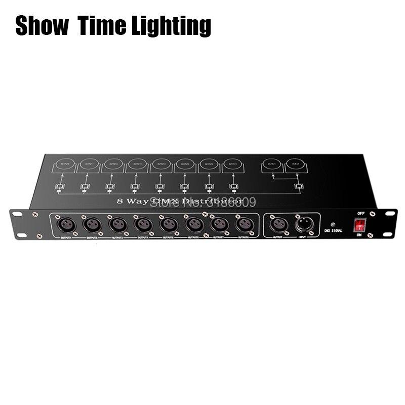 Controlador de luz de etapa de visualización DMX512 divisor de luz divisor de amplificador de señal distribuidor DMX de 8 vías para equipos de escenario 5 uds 4mm/0,16