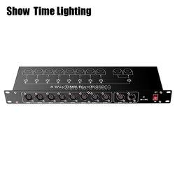 Mostrar tempo controlador dmx512 divisor de luz do estágio divisor amplificador de sinal divisor 8 way dmx distribuidor para equipamentos de palco