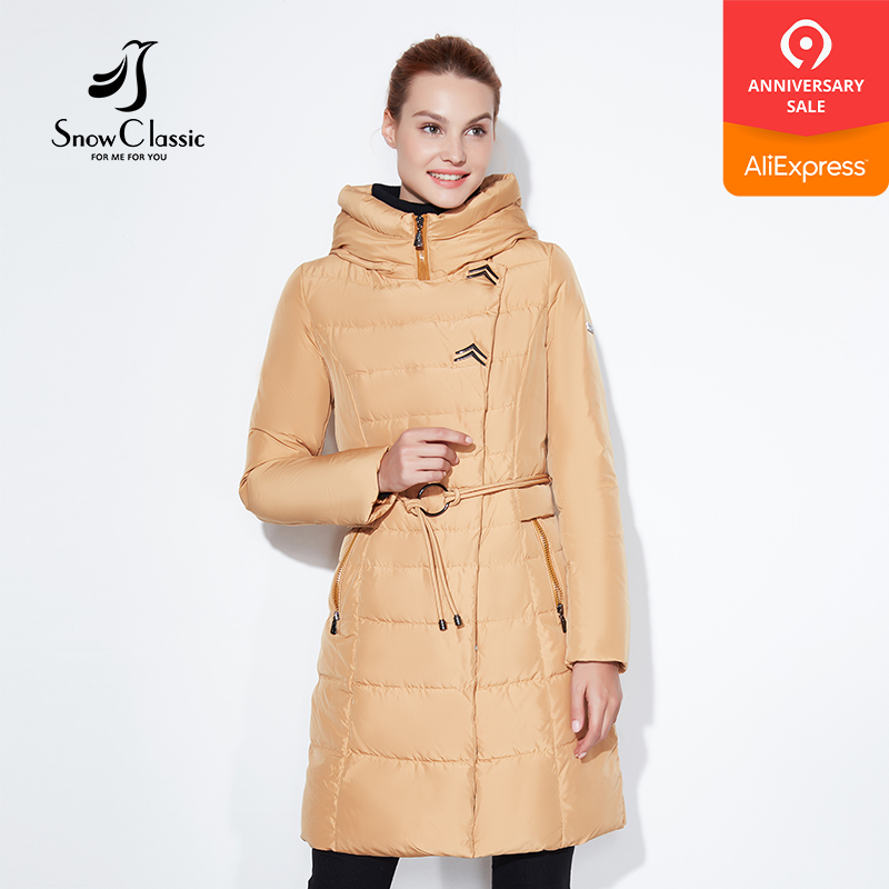 SnowClassic 2017 Fashionable women winter jacket thick Long Coat Jackets Hood Adjustable Waist solid slim Warm Cotton Padded