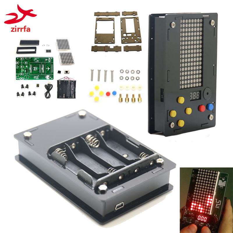 Electronic DIY Kit 8x16 Dot matrix game machine for Tetris/Snake/Shot/RacingDot Matrix Game with Acrylic Diy Kit ElectronicElectronic DIY Kit 8x16 Dot matrix game machine for Tetris/Snake/Shot/RacingDot Matrix Game with Acrylic Diy Kit Electronic