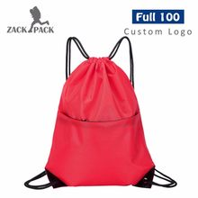 Custom Logo Simple Cotton Drawstring Pouch Training Canvas Backpack Women Bag Sports Waterproof Sack Mochila Knapsack Colar DB8(China)