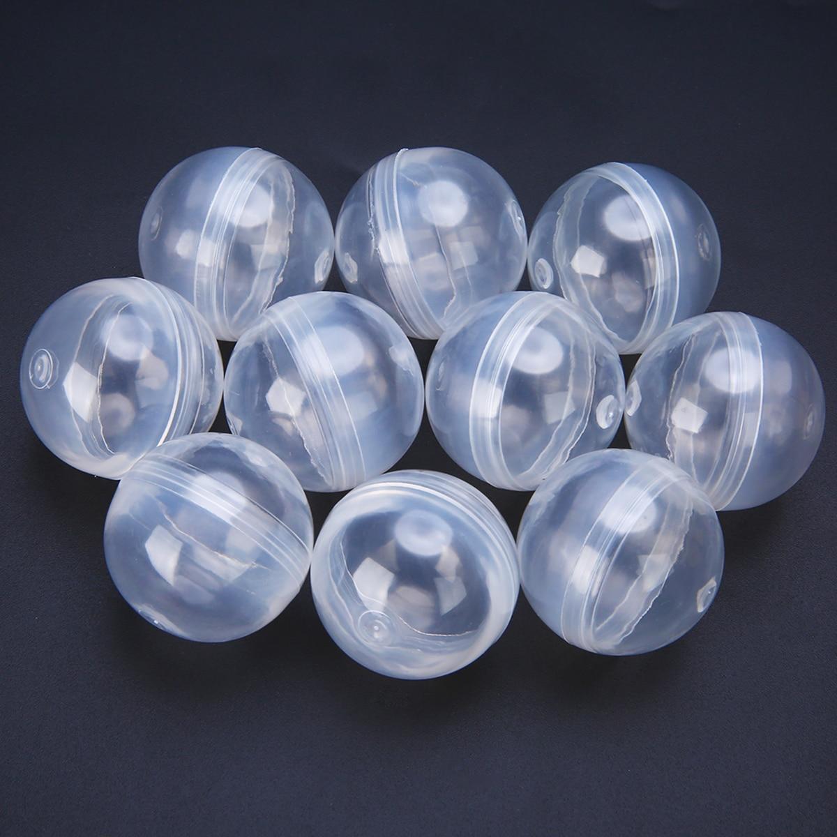 10 cápsulas redondas vazias plásticas transparentes do brinquedo dos pces diâmetro de 1.2 polegadas 32mm para o presente das crianças para a máquina de venda automática da bola