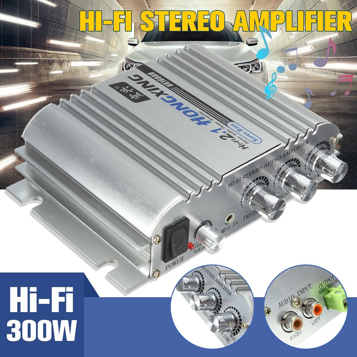 Audew 12V Hi-Fi Stereo Audio Motorcycle Music Amplifier AMP 2+1 CH Super Bass Ca
