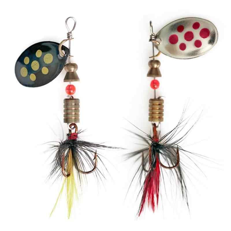5.7Cm 4.5G Spinner Lepel Lokt Roterende Vissen Lokken Metalen Pailletten Aas Haken Voor Bass Forel Baars Snoek Roterende vissen Pesca