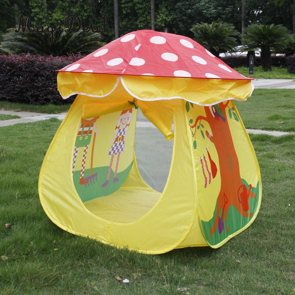 Portable Folding Kids Children Toy Mushroom Tent Play House Cubby Hut Game Castle Gift for Indoor Outdoor Park Garden Yard mushroom kids play hut pink blue children toy tent baby adventure game room indoor outdoor playhouse