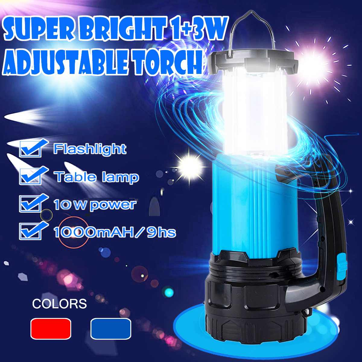 Adjustable LED Portable Spotlight Working Lights Solar Power USB Rechargeable High Brightness Camping Led Latern FlashlightAdjustable LED Portable Spotlight Working Lights Solar Power USB Rechargeable High Brightness Camping Led Latern Flashlight