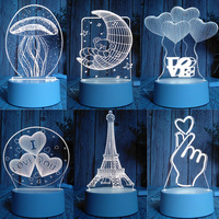 DE.SOUL New 3D Lamp Nightlight Mood Lamp 7 Color Change Light Crack Base for Birthday Gifts Toys Kids Night Lightst