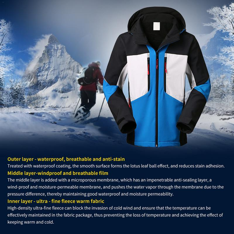 Dependable 2018 Winter Sports Outdoor Soft Cover Jackets Men's Riding Fishing Hooded Ski Windproof Waterproof Warm Mountaineering Neither Too Hard Nor Too Soft Hiking Jackets Hiking Clothings