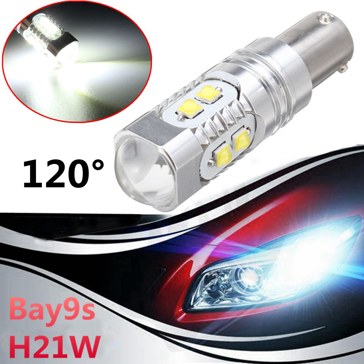 1Pc <font><b>Bay9s</b></font> Turn Signal Lamp Bulbs <font><b>H21W</b></font> 64136 High Power 50W <font><b>LED</b></font> Projector White Car Fog Light Bulb image