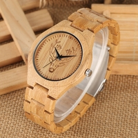 Natural Elk Deer Head Dial Wood Watch Men's Tiger Clock Full Wooden Band Watches Quartz Men Fashion Simple Clock saat erkekler