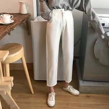 White Jeans Woman 2019 Spring Korean Loose BF Washed Denim Pants Ankle-Length Straight Jeans Boyfriend Jeans недорго, оригинальная цена