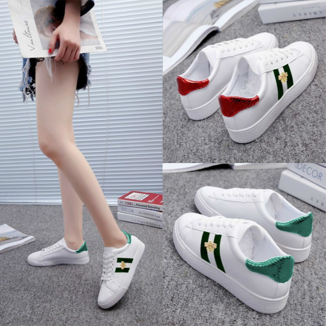 2019 Spring New Fashion Children's Embroidered White Shoes Kids Lace-up Flat Sneakers Child Striped PU Shoes