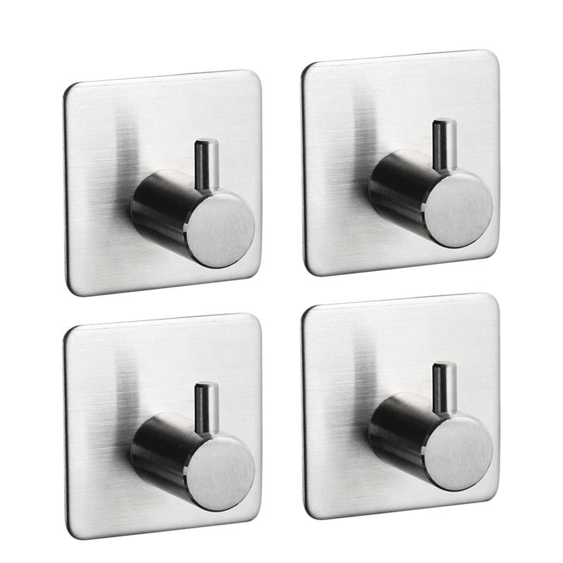 Compare  4pcs Self Adhesive Hook Key Rack 304 Stainless Steel Garage Storage Organizer Sticky Wall Hanger
