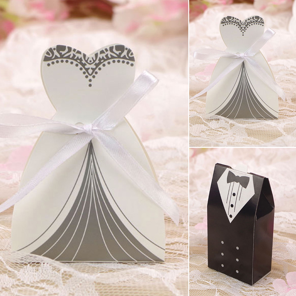 200pcs Wedding Favor Candy Box Bride + Groom Dress Tuxedo Party with Ribbon wedding supply